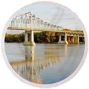 Interstate Bridge In Winona Round Beach Towel