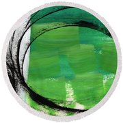 Intertwined- Abstract Painting Round Beach Towel