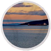 Into The Gitchigumi Night Round Beach Towel by Daniel Thompson