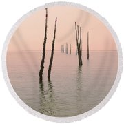 Into The Pink Sunset... Round Beach Towel