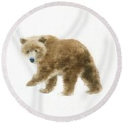 Into The Woods Vi On White No Border Round Beach Towel
