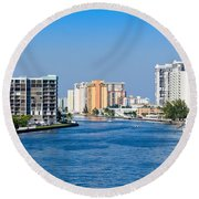 Intracoastal Waterway In Hollywood Florida Round Beach Towel