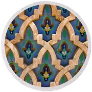 Round Beach Towel featuring the photograph Intricate Zelji At The Hassan II Mosque Sour Jdid Casablanca Morocco by Ralph A  Ledergerber-Photography