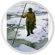 Round Beach Towel featuring the photograph Inuit Seal Hunter Barrow Alaska July 1969 by California Views Mr Pat Hathaway Archives