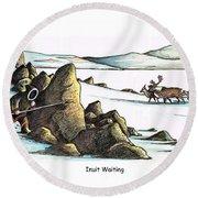 Inuit Waiting Round Beach Towel