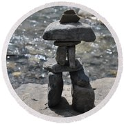Inukshuk By The Water Round Beach Towel by Jim Hogg