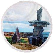 Inukshuk Round Beach Towel by Marilyn  McNish