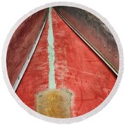 Round Beach Towel featuring the photograph Inverted-stacked Canoes by Gary Slawsky