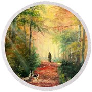 Round Beach Towel featuring the painting Invitation To Walk   by Sorin Apostolescu