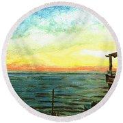 Round Beach Towel featuring the painting Ionian Sea Zanti Greek Island by Teresa White