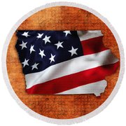 Iowa American Flag State Map Round Beach Towel by Marvin Blaine