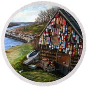 Ipswich Bay Wooden Buoys Round Beach Towel by Eileen Patten Oliver