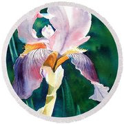 Iris 1 Round Beach Towel by Marilyn Jacobson