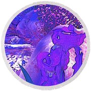 Round Beach Towel featuring the photograph Iris 2 by Pamela Cooper