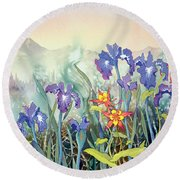 Round Beach Towel featuring the painting Iris And Columbine II by Teresa Ascone