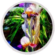 Iris Bloom Round Beach Towel