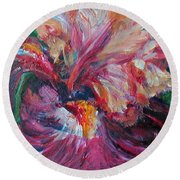 Iris - Bold Impressionist Painting Round Beach Towel by Quin Sweetman
