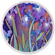 Round Beach Towel featuring the mixed media Iris Bouquet by Teresa Ascone
