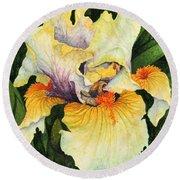 Round Beach Towel featuring the painting Iris Elegance by Barbara Jewell