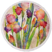 Iris Elegance On Pink Round Beach Towel