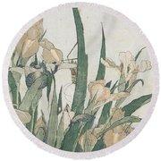Iris Flowers And Grasshopper Round Beach Towel by Hokusai