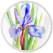 Iris Flowers Round Beach Towel