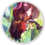 Watercolor Of A Tall Bearded Iris Called Sultan's Palace In Red And Burgundy Round Beach Towel
