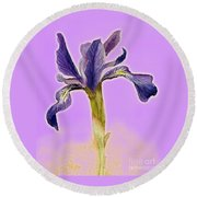 Iris On Lilac Round Beach Towel