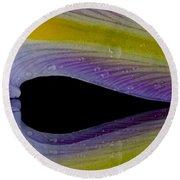 Iris Petal Reflected Round Beach Towel