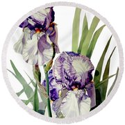 Watercolor Of A Tall Bearded Iris In Violet And White I Call Iris Selena Marie Round Beach Towel