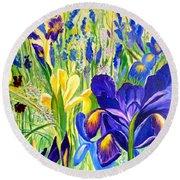 Iris Spring Round Beach Towel by Julie Brugh Riffey