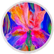 Funky Iris Flower Round Beach Towel