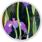 Round Beach Towel featuring the painting Iris Tall And Slim by Teresa Ascone