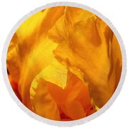 Iris Undulation Round Beach Towel by Rona Black