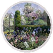 Irises In The Formal Gardens, 1993 Round Beach Towel