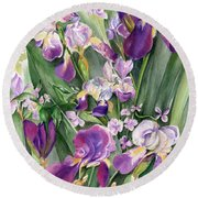 Round Beach Towel featuring the painting Irises In The Garden by Nadine Dennis
