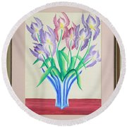 Irises Round Beach Towel by Ron Davidson