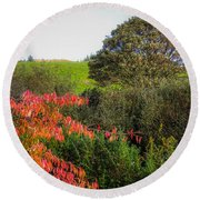 Irish Autumn Countryside Round Beach Towel