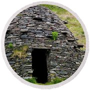Round Beach Towel featuring the photograph Irish Beehive House by Patricia Griffin Brett