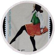 Irish Music And Dance Postage Stamp Print Round Beach Towel