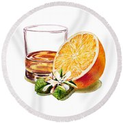 Irish Whiskey And Orange Round Beach Towel by Irina Sztukowski