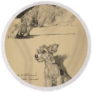 Irish Wolfhound And Wire Haired Terrier Round Beach Towel