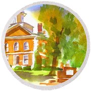 Iron County Courthouse In Watercolor Round Beach Towel