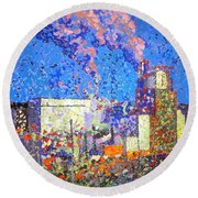 Irving Pulp Mill II Round Beach Towel