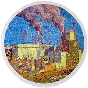 Irving Pulp Mill Round Beach Towel