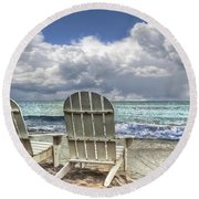 Island Attitude Round Beach Towel by Debra and Dave Vanderlaan