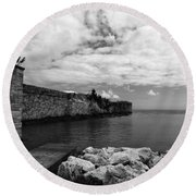 Island Fortress  Round Beach Towel