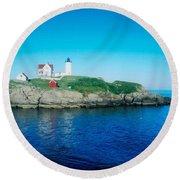 Island Lighthouse Round Beach Towel