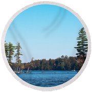 Island On The Fulton Chain Of Lakes Round Beach Towel