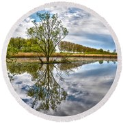 Round Beach Towel featuring the photograph Island Tree by Frans Blok